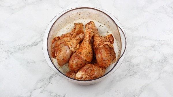 Marinated chicken drumsticks.