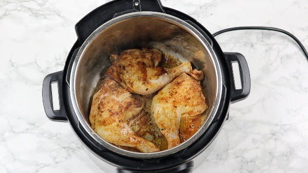 Chicken browned in the instant pot.