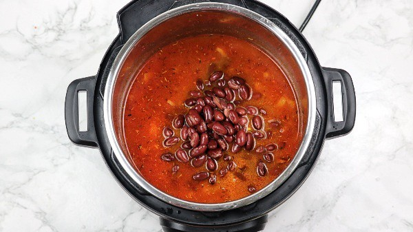 beans added in the pot.