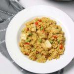 instant pot chicken paella served .
